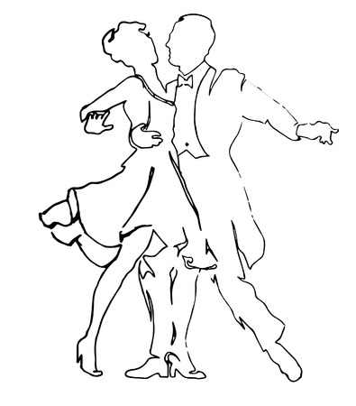Dancing couple. Valentine couple. Valentine day. Evening dancing. Dancing silhouettes. Men and women. Dancers. Valentine Background. Vettoriali