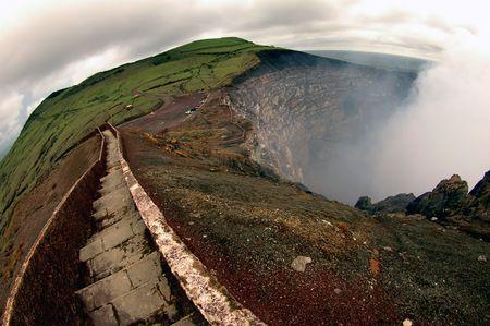 Breathtaking trail on the edge of Masaya volcano, Nicaragua photo