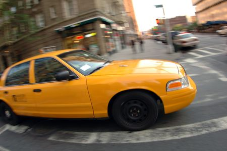 Yellow taxi in New York City photo