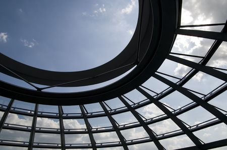 Close-up of the glass dome in Berlin Reichstag photo