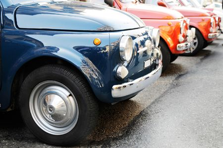 fiat: Three old italian cars during an annual gathering