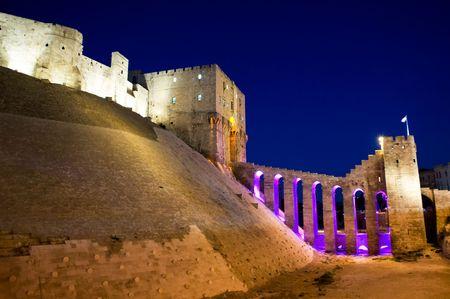 the citadel: Vista notturna della cittadella vecchia di Aleppo, Siria