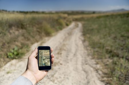 disoriented: GPS device in the countryside