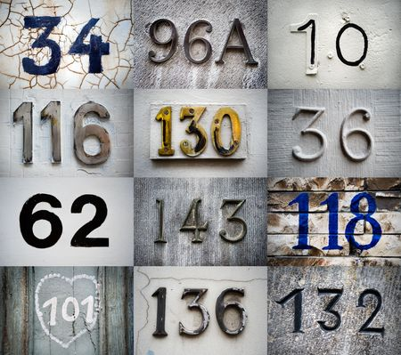 many doors: High-definition composition of 12 street numbers