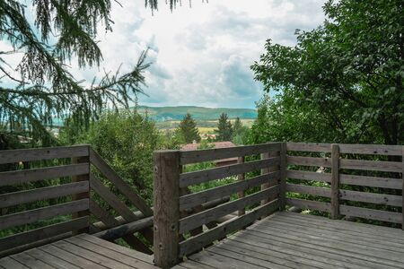Viewpoint of a tourism center in Felsőtárkány, Hungary. This is a popular tourist destination in Hungary, because of it's flattering nature and it's closeness to the Bükki National Park. Great image to illustrate Hungarian tourism, tourism, viewpoints, summer storms and weather.