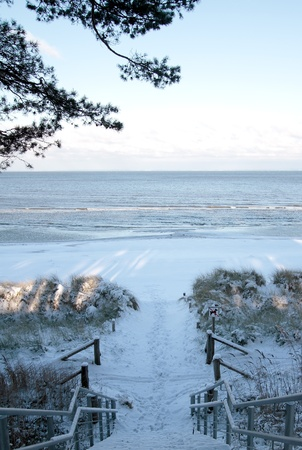 wintry: Stair to the wintry beach of Lubmin.