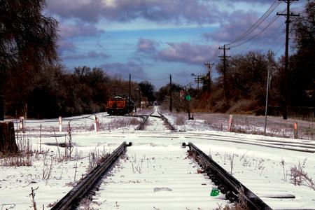 snow storm: Railway tracks after a snow storm