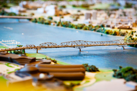 Miniature bridge and the city in Ottawa Canada Stock Photo