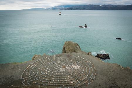 San Francisco lands end labyrinth rock maze Stock fotó