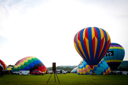 Hot air balloons festival in Warren County Farm of New Jersey. This is an annual festival. Photo was taken on August 4th, 2012.