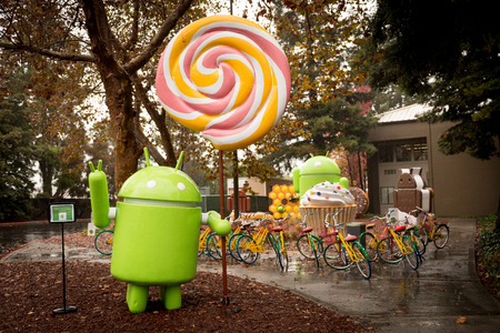 Android figures by the name of desserts on Google Campus in Silicon Valley Nov 2014. Editorial