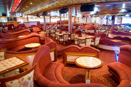 Spectacular empty lounge in the cruise ship Carnival Liberty in 2013