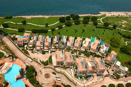 Aerial view of luxury house condos in Hong Kong