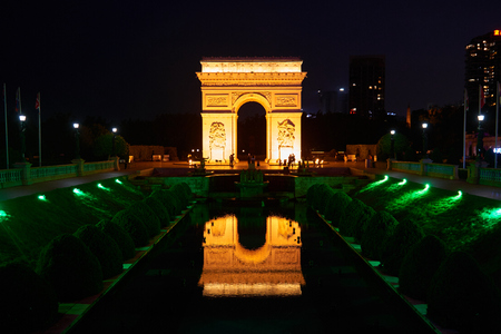 small world: Arc de Triomphe replica from Windows of the World in Shen Zhen China on May 11 2017. Windows of the world is one of Shen Zhens most famous attractions for visitors.