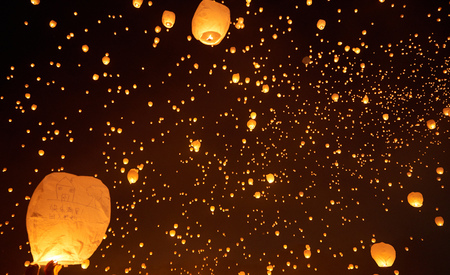Over 10,000 of people flying the lantern to the sky on Lantern Festival in PA on June 10th 2017. Creating a lantern galaxy.