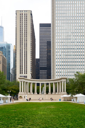 Chicago, IL - SEPTEMBER 2, 2017: Wrigley Square and Millennium Monument in Chicago, USA. Wrigley Square is an attraction located in Millennium Park, opened in 2004.