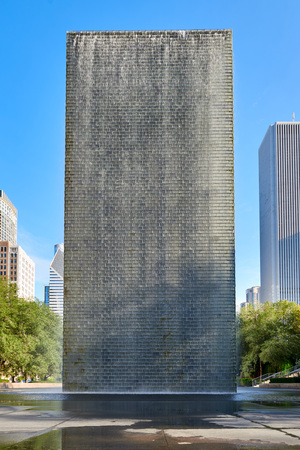 CHICAGO,IL - SEPTEMBER 2, 2017 : The back of Jaume Plensas Crown fountain in Millennium Park, Chicago. An interactive work of public art and video sculpture featured. It operates from May to October. Editorial