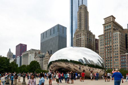 CHICAGO, IL - SEPTEMBER 2, 2017: Millennium Park, Chicago featuring the Cloud Gate sculpture. Also known as the Bean.