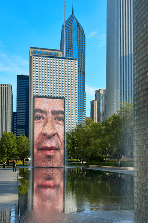 CHICAGO,IL - SEPTEMBER 2, 2017 : The Jaume Plensas Crown fountain in Millennium Park, Chicago. An interactive work of public art and video sculpture featured. It operates from May to October.