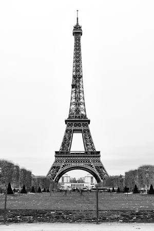 The Eiffel Tower in Paris, France - Black and White