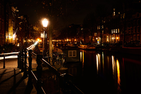 Beautiful Amsterdam city at the evening time. Amsterdam, Netherlands.