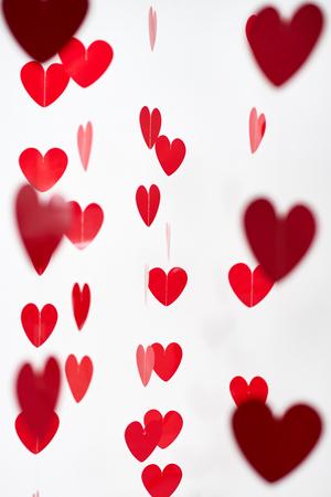 Valentine's Day red hearts on white background Standard-Bild
