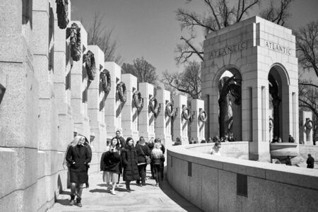 Washington DC, USA - April 2018: World World II Memorial Atlantic section in black and white. Each pillar represents a state.