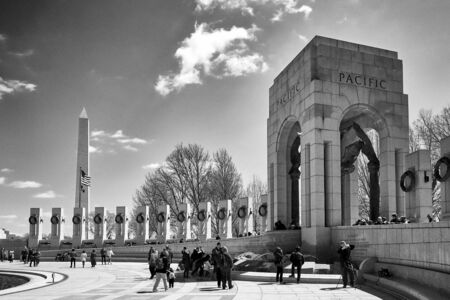 Washington DC, USA - April 2018: World World II Memorial Pacific section in black and white. Each pillar represents a state.