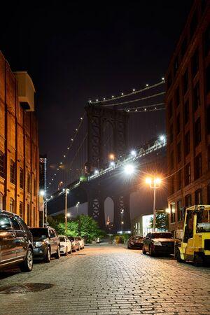 Iconic view of the Manhattan bridge from Dumbo, Brooklyn, New York City, USA