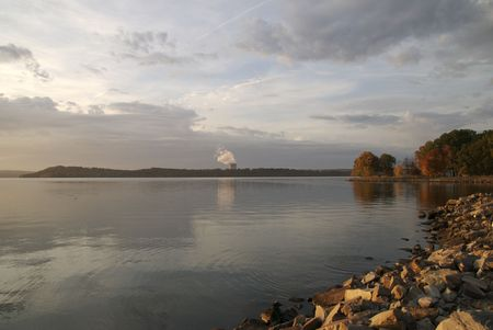 An shot of the nuclear power plant across Arkansas Lake Dardanelle. Stock Photo