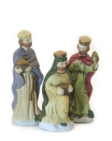 Hand painted ceramic figures of the three wise men. Stock Photo