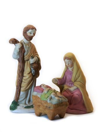 Hand painted ceramic figures of Mary, Joseph and Jesus.