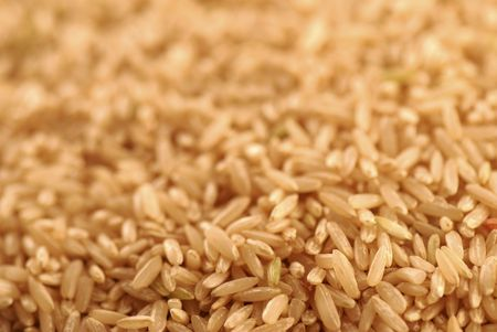 a macro shot of brown rice with a shallow depth of field shot with background use in mind.