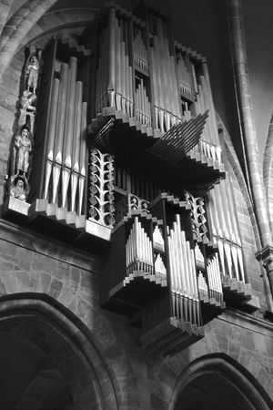 A black and white photograph of the organ in Bamberg, Germanys Imperial Cathedral Editorial