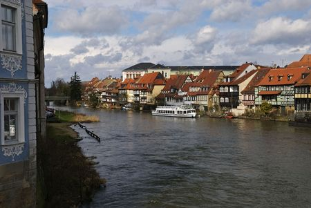 A view down the river in Bamberg Germany Stock Photo
