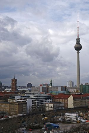 A view across the skyline of Berlin Germany.