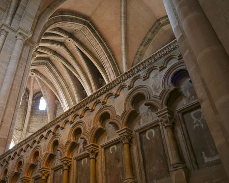 A wall and ceiling photograph of Bambergs Imperial Cathedral. Editorial