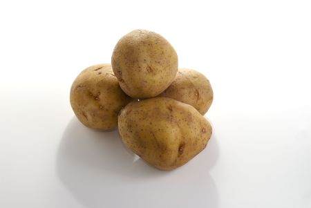 Potatos isolated against a white background.
