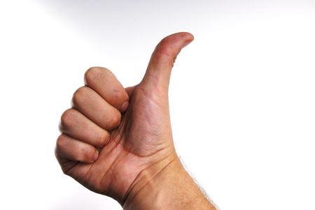 alright: A shot of a hand giving a thumbs up.