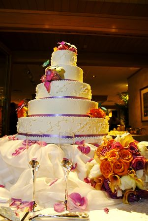 A wedding cake set up for the after ceremony reception.