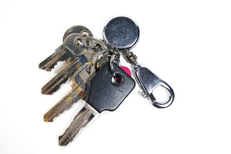 A set of keys isolated against a white background. Stock Photo