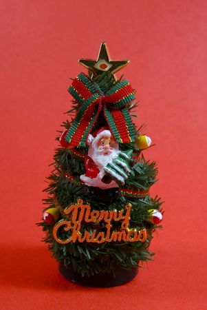 A small christmas tree ornamment.