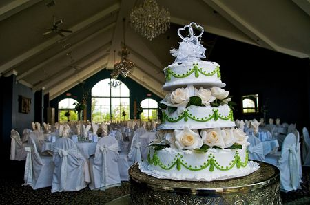 wedding food: Cake at reception with chairs