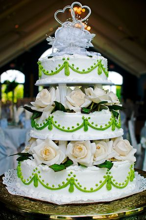 Cake with green trim Stock Photo