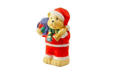 klaus: A New Years toy - a figure of a bear with a bag and in a suit santa klaus Stock Photo