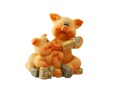 A figure of a toy pig with money.