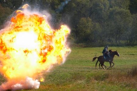 Reconstruction of military battle under Borodino, wars of 1812 Stock Photo