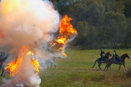 Reconstruction of military battle under Borodino, wars of 1812 Stock Photo