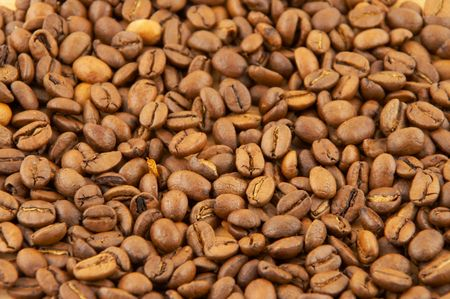 Coffee grains, a loose an equal layer with good detailed elaboration Stock Photo