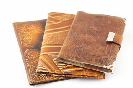 A set of covers from a leather, a notebook, the passport, the drivers license Stock Photo